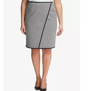 NWT Calvin Klein Houndstooth Skirt Career Plus
